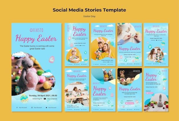 Happy easter social media stories set