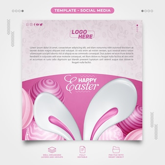 Happy easter social media template