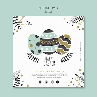 Happy easter square flyer template