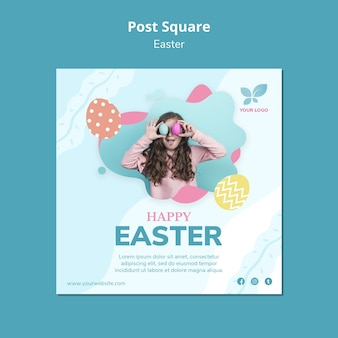 Happy easter with girl post square template