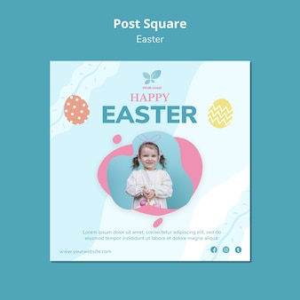 Happy easter with girl square flyer template