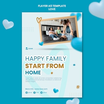 Happy family at home flyer template