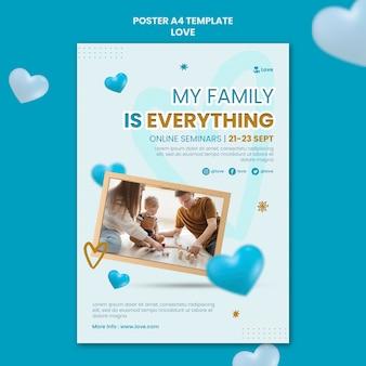 Modello di poster di famiglia felice a casa