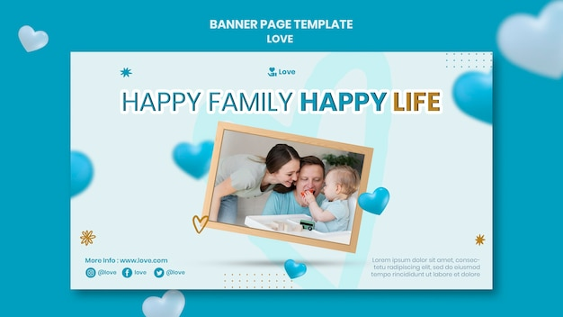 Happy family and life banner template