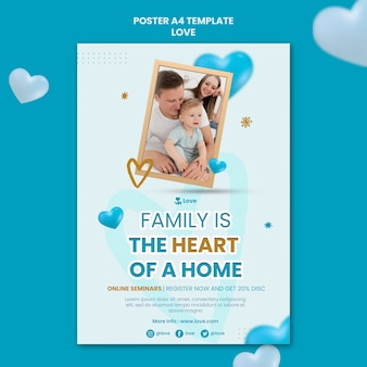 Happy family poster template
