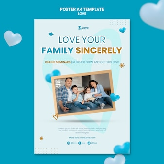 Happy family with child poster template