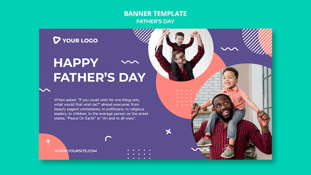 Happy father's day concept banner template mock-up
