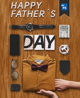 Happy father´s day outfit office with gifts elements