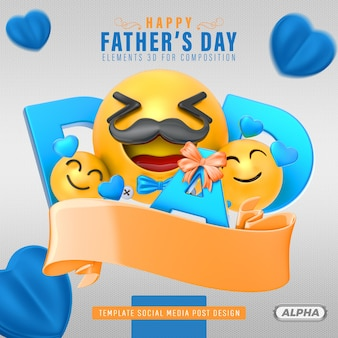 Happy fathers day 3d for composition