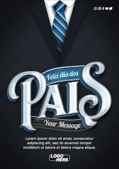 Happy fathers day a4 suit and tie template