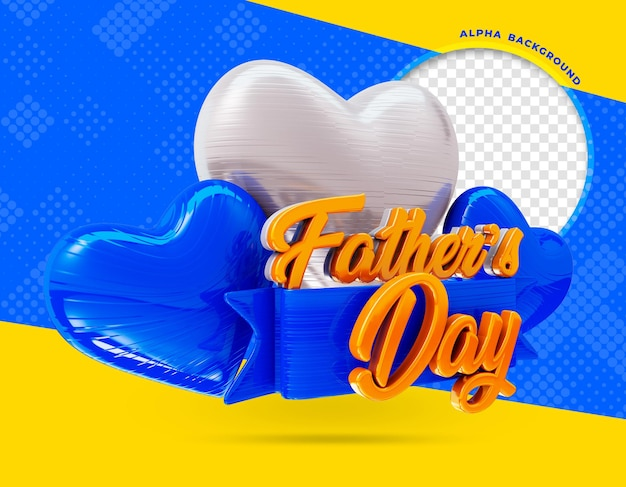 Happy fathers day logo 3d render