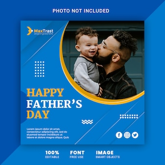 Happy fathers day social media banner post template