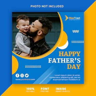 Happy fathers day, square instagram post banner template