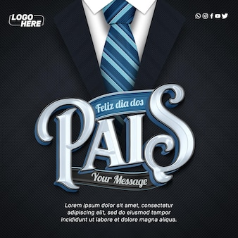 Happy fathers day suit and tie template feed instagram