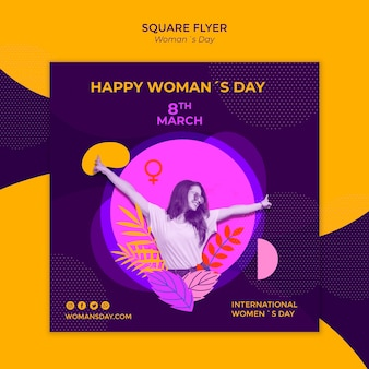 Happy female and leaves women's day square flyer