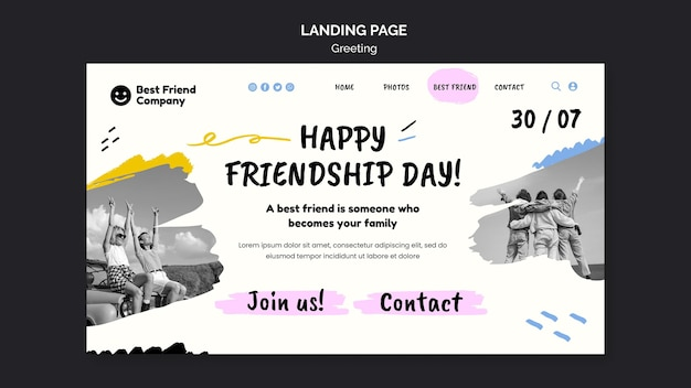 Happy friendship day landing page template