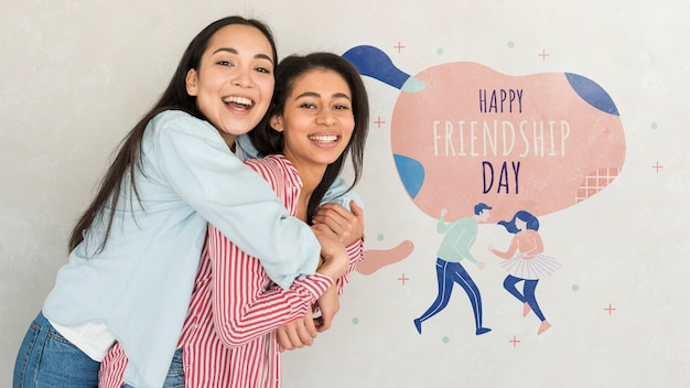 Happy friendship day. young women best friends celebrating friendship day