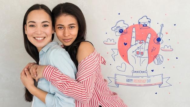 Happy friendship day. young women best friends celebrating friendship day
