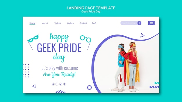 Happy geek pride day landing page template