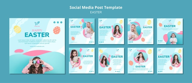 Happy girl child social media post template