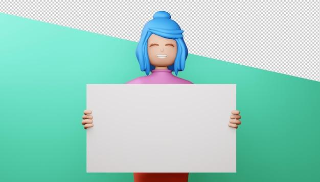 빈 화면 3d 렌더링 행복 소녀