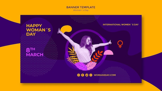 Happy girl with leaves women's day banner template