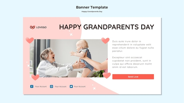 Happy grandparents day banner concept