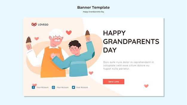 Happy grandparents day banner design