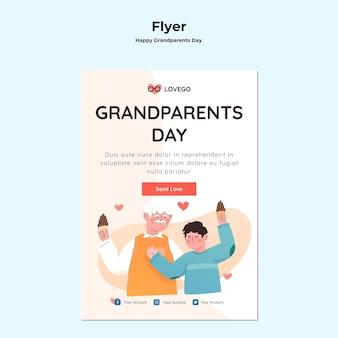 Счастливый бабушка и дедушка день флаер тема