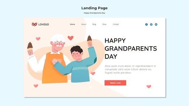 Happy grandparents day landing page design