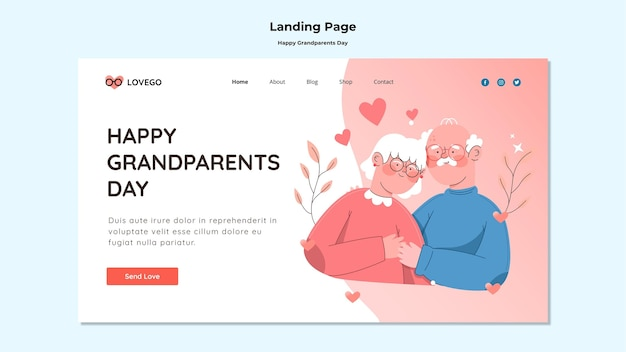 Happy grandparents day landing page theme