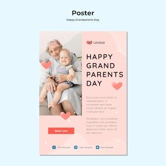 Счастливый день бабушек и дедушек дизайн плаката