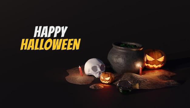 Счастливого хэллоуина 3d фон с тыквой