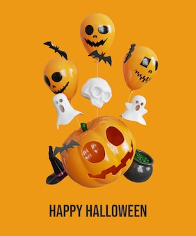 Happy halloween background with 3d pumpkin balloon and ghost