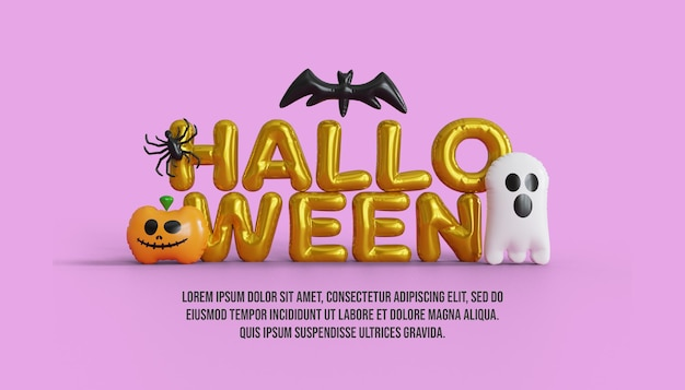 Happy halloween balloon text with cute pumpkin and ghost background