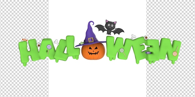 Happy halloween dripping text and lettering with eyes candies pumpkin and bat 3d render model