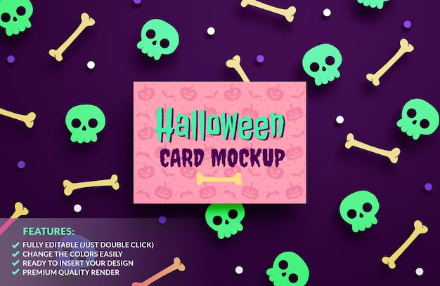 Happy halloween greeting card mockup on a paper pumpkins background in 3d rendering