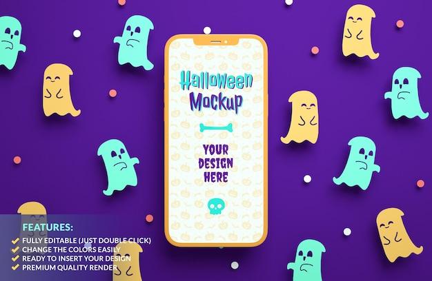 3dレンダリングでかわいい紙の幽霊の背景にハッピーハロウィン携帯電話のモックアップ