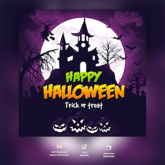Happy halloween psd background template