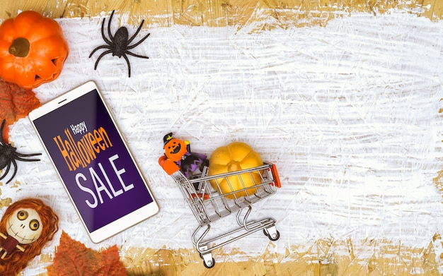Happy halloween sale mock up on smartphone