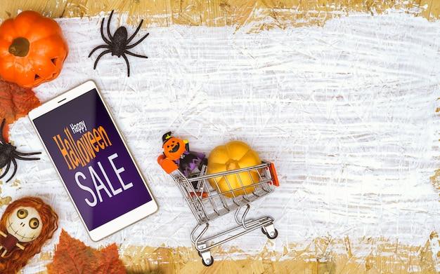 Happy halloween распродажа макет на смартфоне