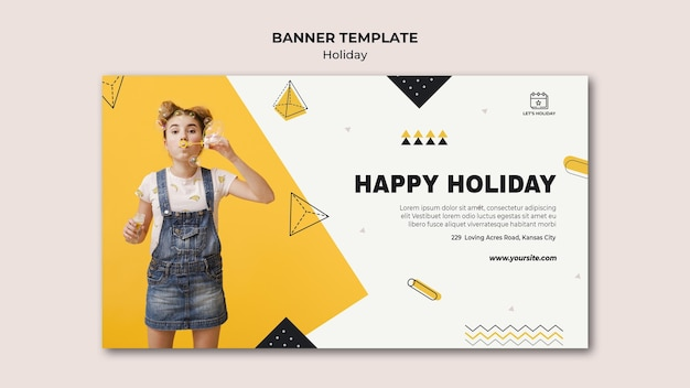 Happy holiday party banner template