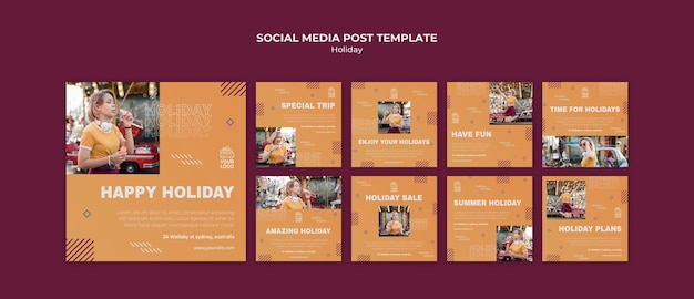 Happy holiday social media post template