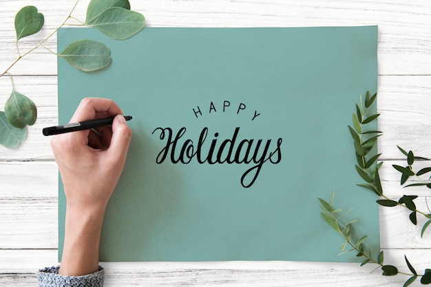 Happy holidays greeting design mockup