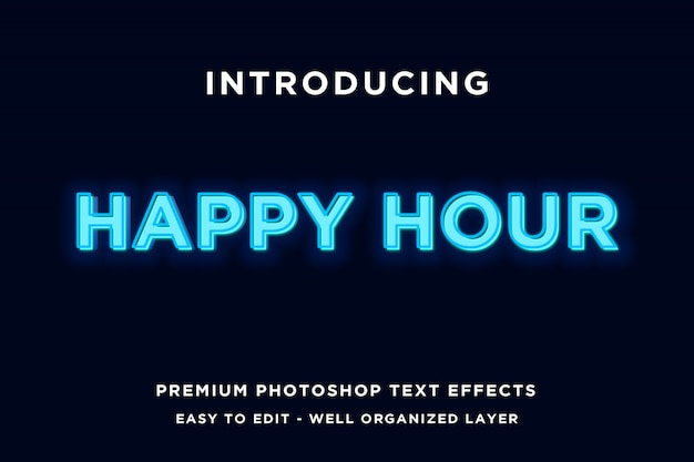 Happy hour neon style text templates