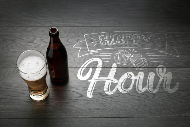 Happy hour with craft beer mokc-up