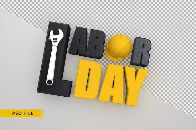 Концепция счастливого дня труда с желтым строительным шлемом и 3d-гаечным ключом