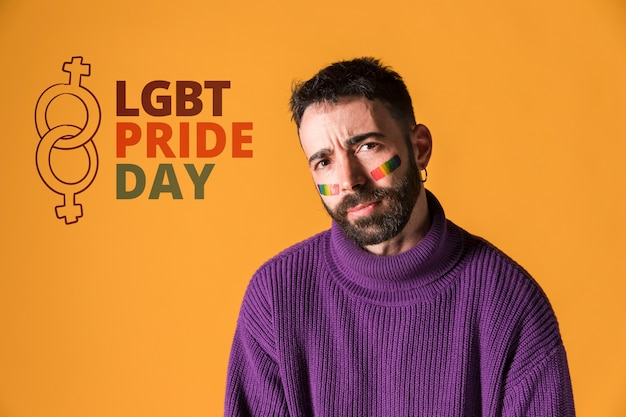 Happy man on lgbt gay pride day. love wins