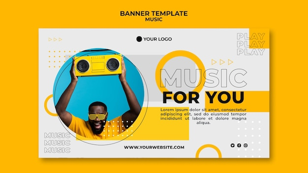 Happy man listening to music banner web template