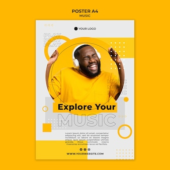 Happy man listening to music poster template